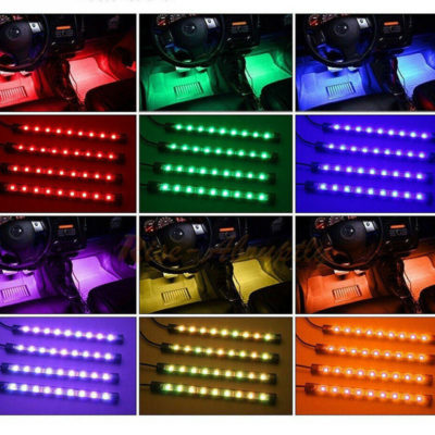 set 4 rgb led gia to aytokinhto