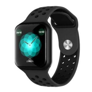 mayro smartwatch me egxromi othoni kai loyraki silikonis