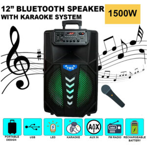 asyrmato forhto hxeio bluetooth 800w me asyrmato mikrofono gia karaoke