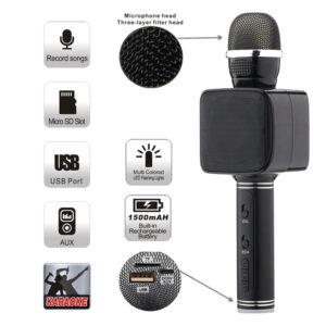 asyrmato mikrofono karaoke kai hxeio bluetooth me thyra usb tf aux
