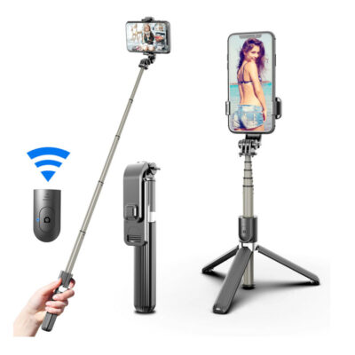 ptyssomeno selfie stick gia smartphones kinhta me tripodo