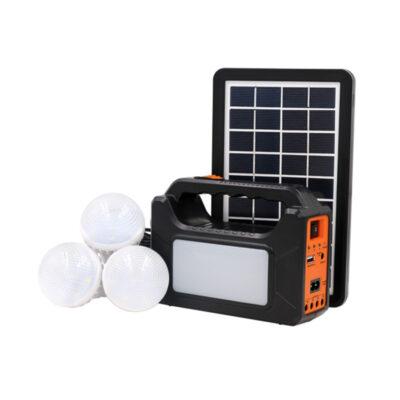 mikro fotovoltaiko systhma fotismou me 3 led lampes kai powerbank