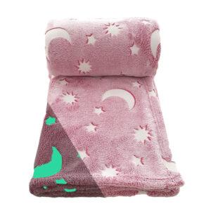 paidiki roz fleece kouverta me sxedia pou fotizoun th nyxta